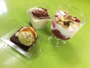Three dessert options: tiramisu, parfait and brownies with ice cream