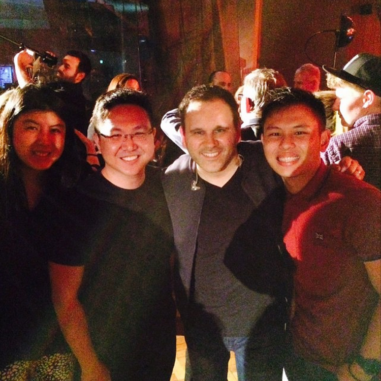 Daniel, Kai Sheng and Isabel congratulating Matt Redman on his new songs at the end of the night.