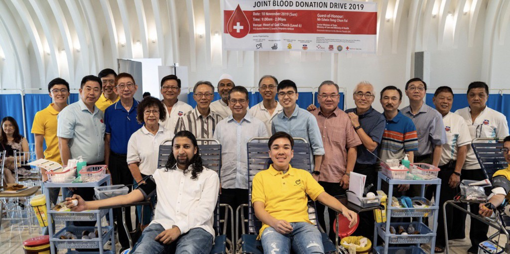 Senior Minister of State Mr Edwin Tong at Heart of God Church (Singapore)'s Inter-Faith Joint Blood Donation Drive