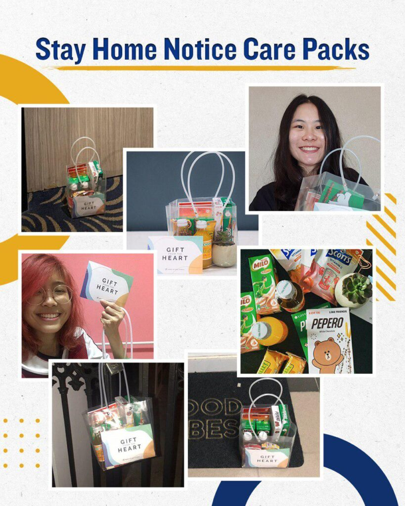 Heart of God Church members serving the Stay Home Notice receive a care pack